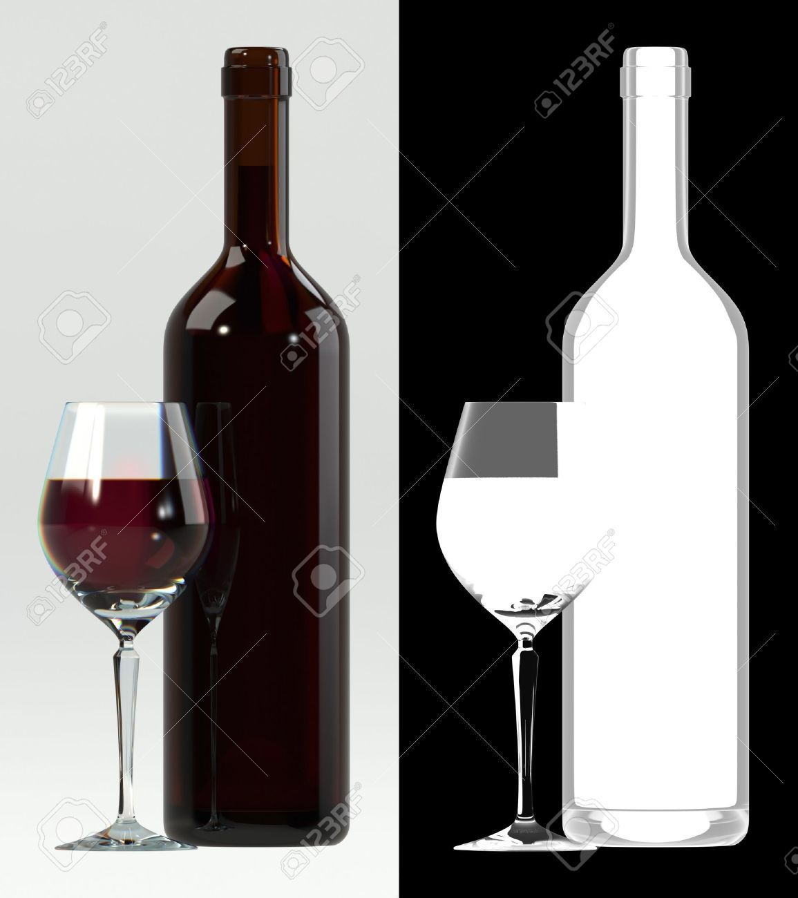 Glass of red wine with bottle. Alpha transparency on right for easily extraction and background replacement. - 11067550