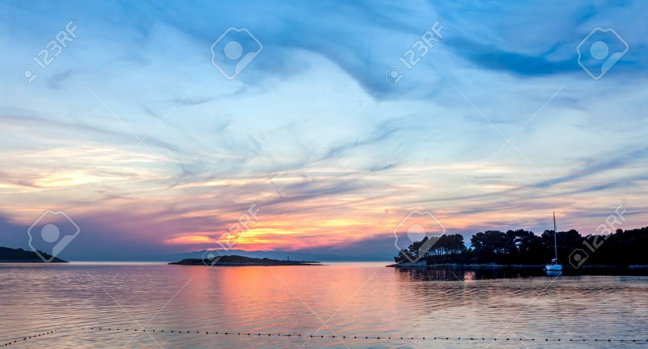 Colorful sunset on island Mljet,near Dubrovnik, Croatia Stock Photo - 14716683