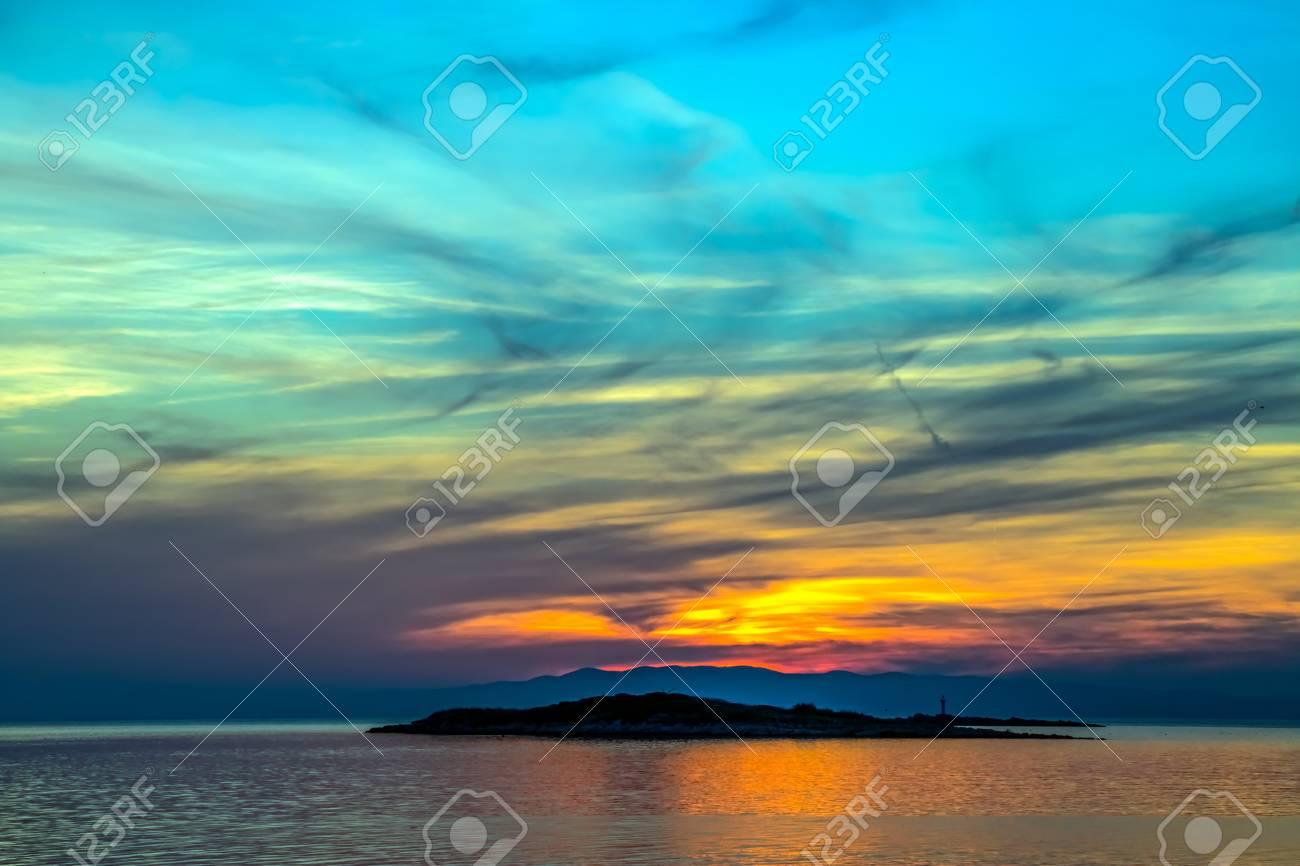 Colorful sunset on island Mljet,near Dubrovnik, Croatia. Stock Photo - 15770531