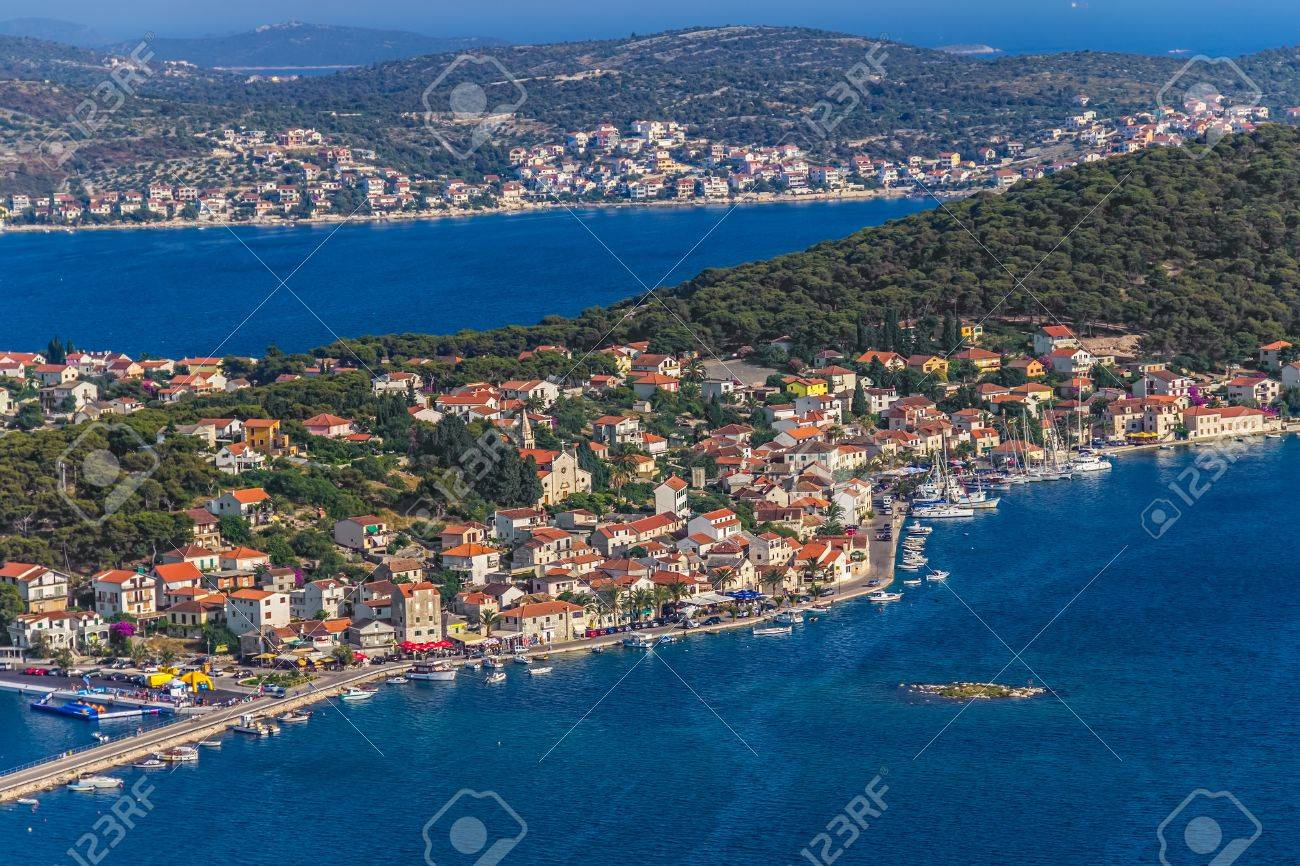 Helicopter aerial shoot of Rogoznica, a small Croatian town - a tourist destination. Stock Photo - 15770964