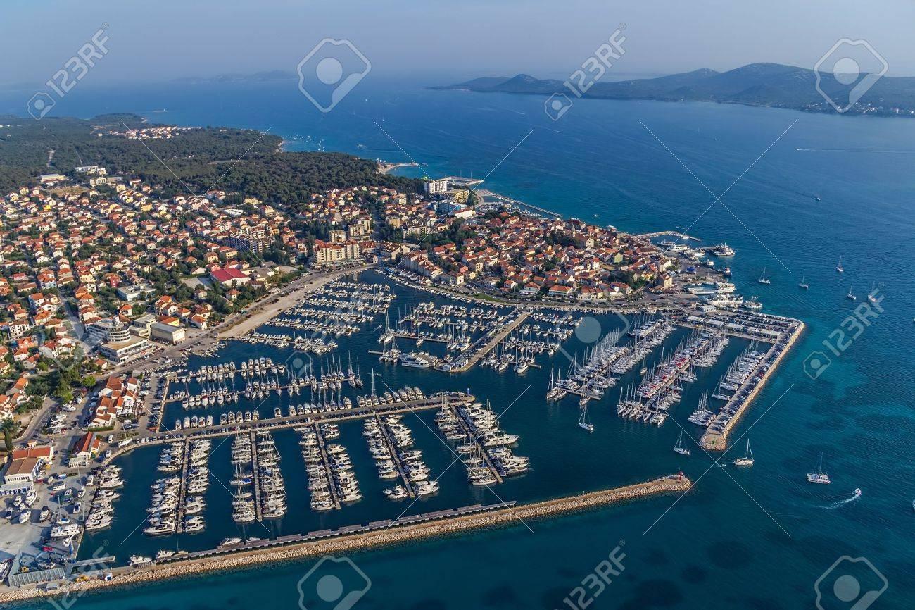 Marina with boats and sailboats, Adriatic tourist destination Biograd, Croatia - 16529198