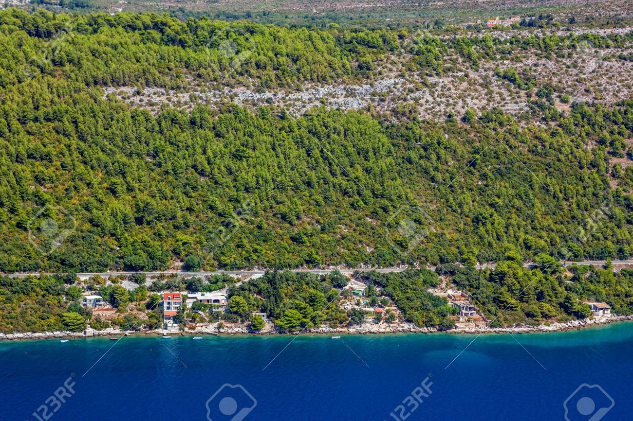 Aerial helicopter shot of croatian landscape near Dubrovnik,. Stock Photo - 16693983