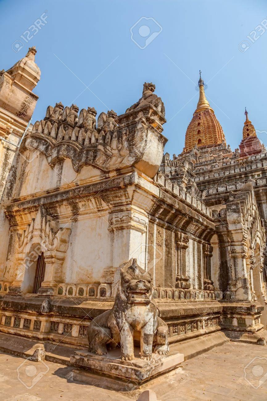 Ancient Ananda Temple in Old Bagan, Myanmar  Entrance guardian