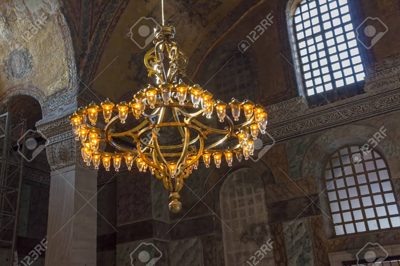 Istanbul turkey september 27 2013 chandelier in hagia sophia istanbul turkey september 27 2013 chandelier in hagia sophia ancient basilica aloadofball Images