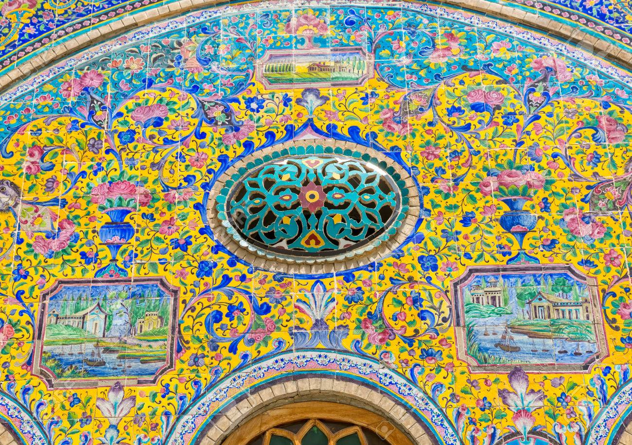 Colorfull Bemalten Fliesen, Dekoration Detail Von Golestan Palace Ehemalige  Königliche Qajar Komplex In Der