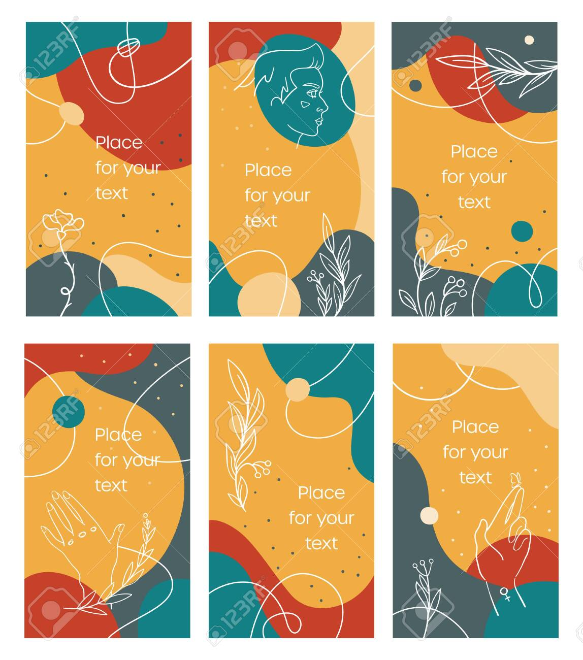 Summer stories template in bright abstract style - 141865650