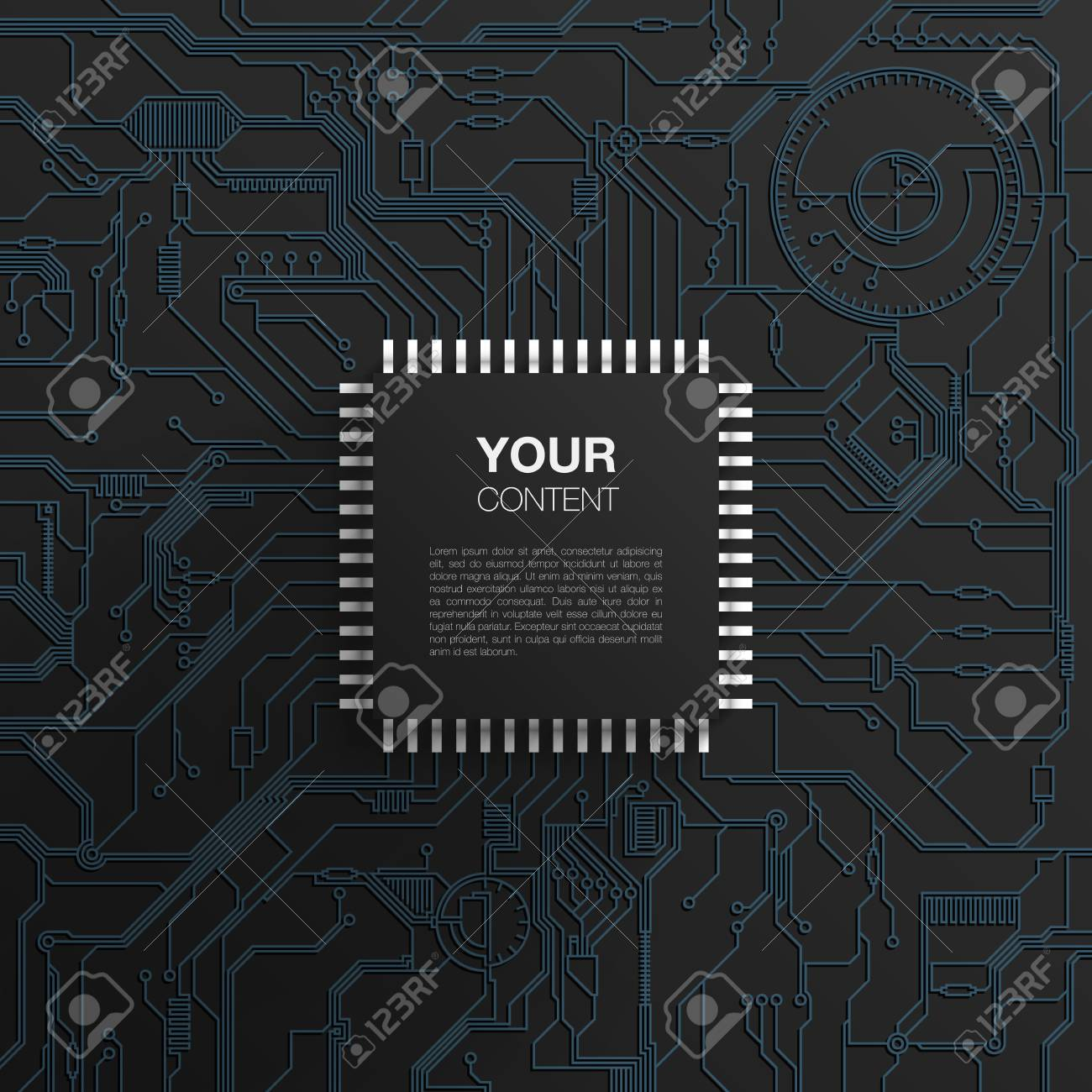 Realistic Black Microchip On Printed Circuit Board Design Detailed Wiring The Abstract Background With Your Text Eps