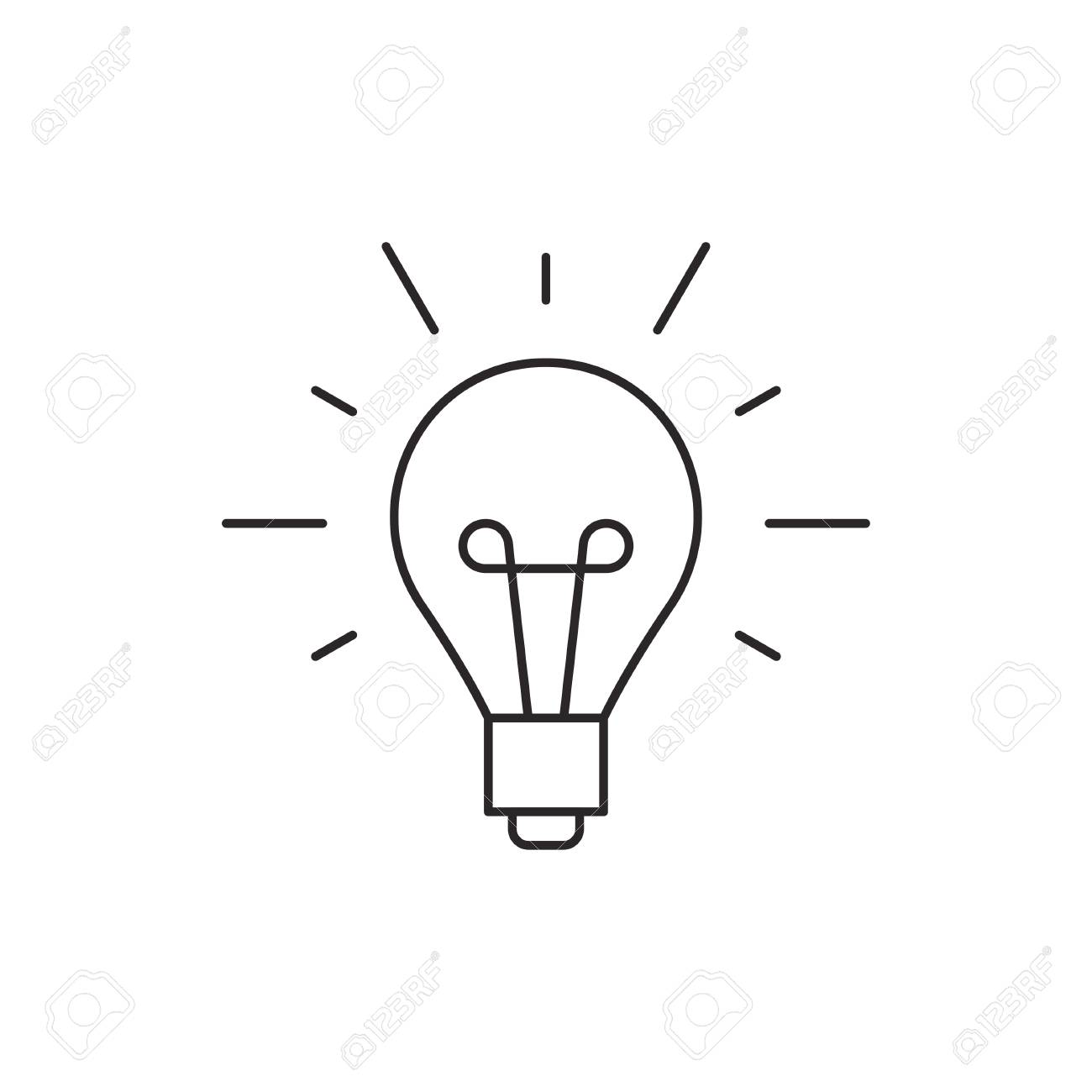 Idea icon outline lamp illustration vector isolated on white background - 62124825