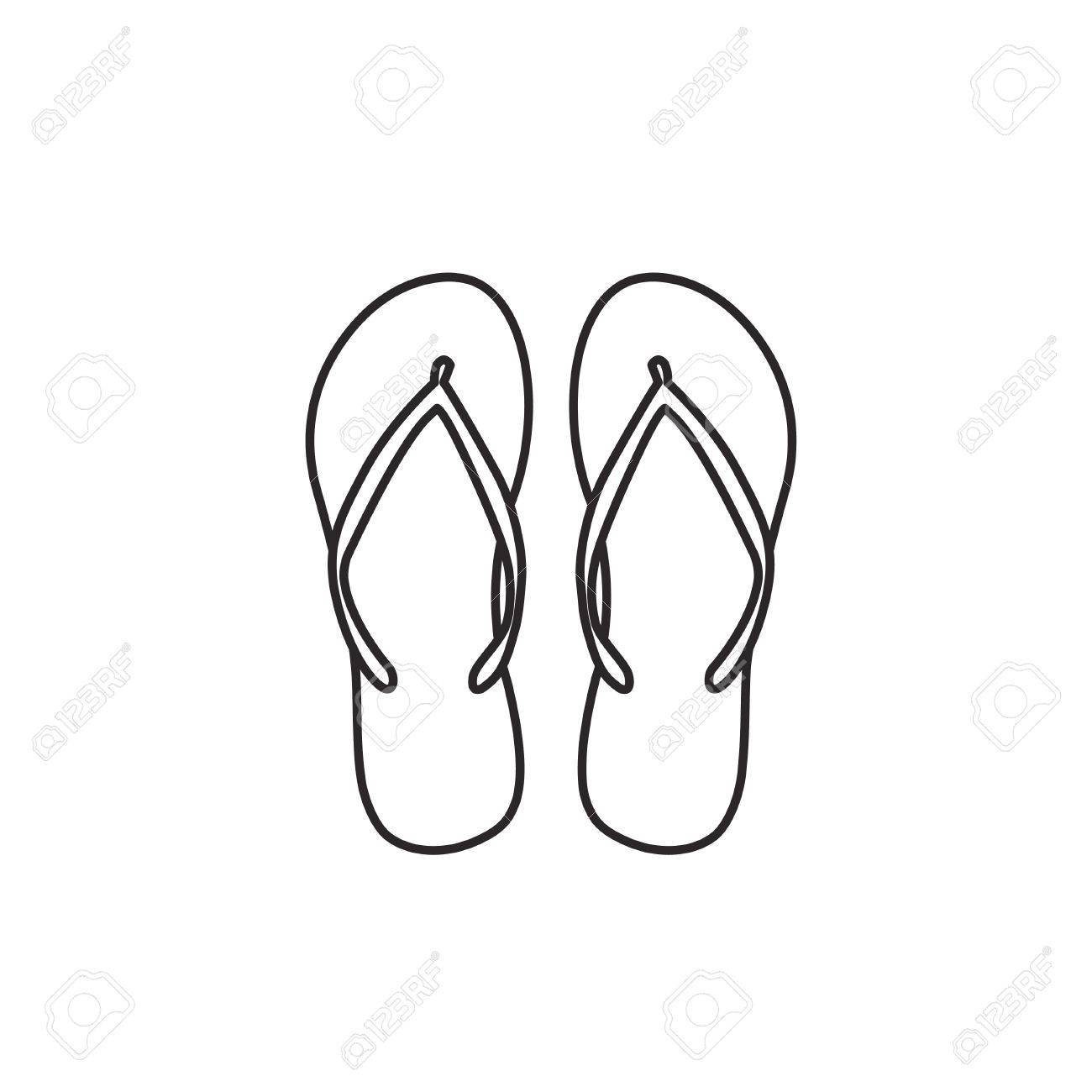 a165c9307 Flip flop slippers icon outline contour vector on white background Stock  Vector - 62835936