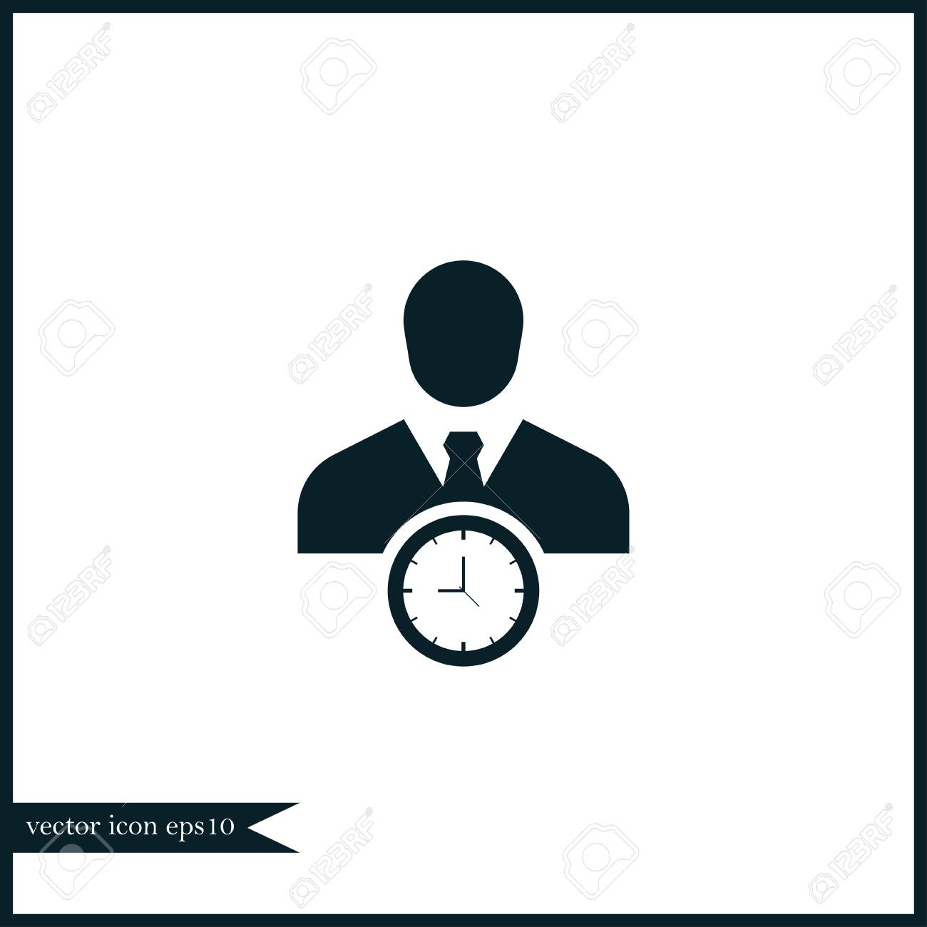 Businessman with clock icon simple time management sign vector