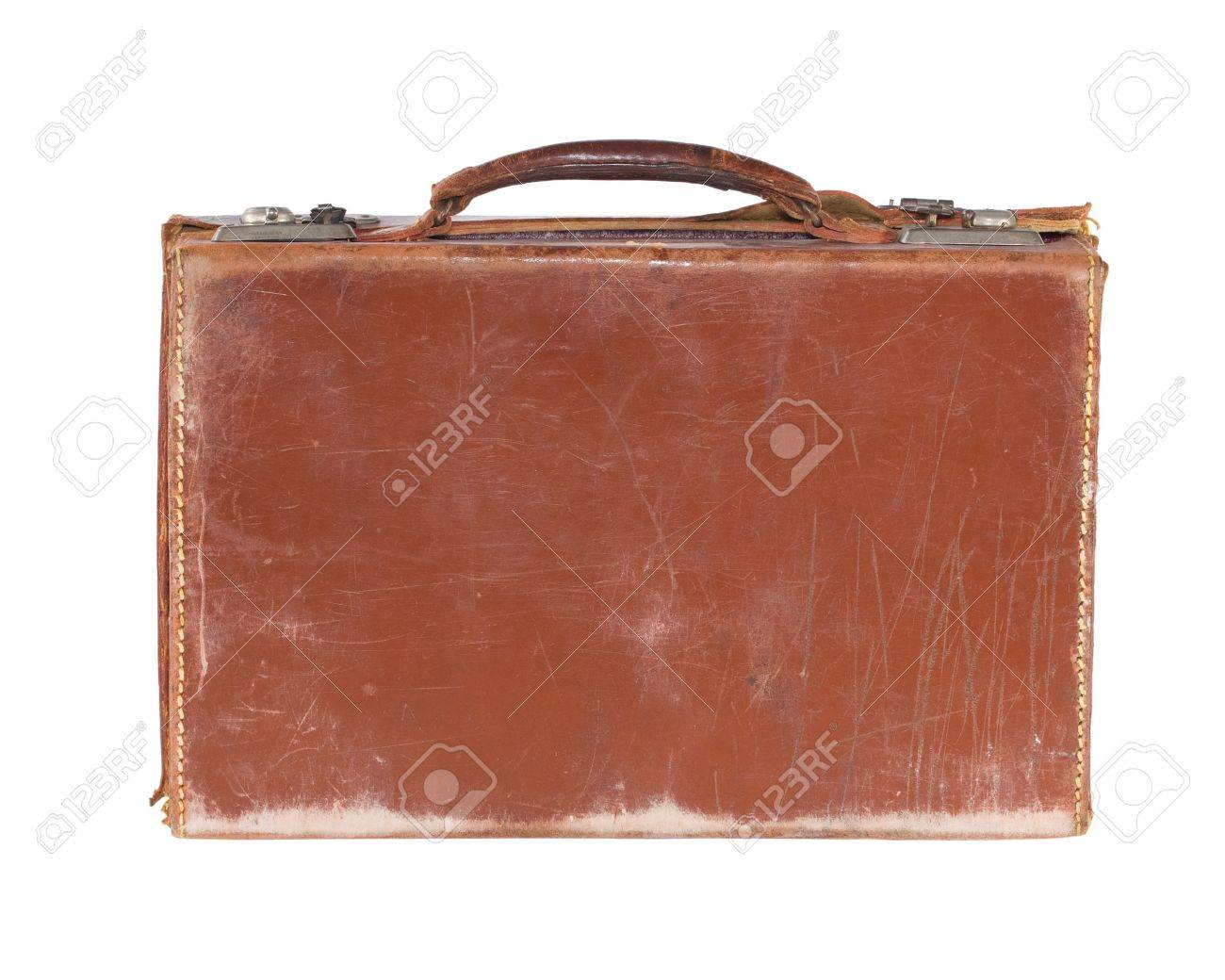 Battered Old Fashioned Brown Leather Vintage Suitcase, Isolated ...