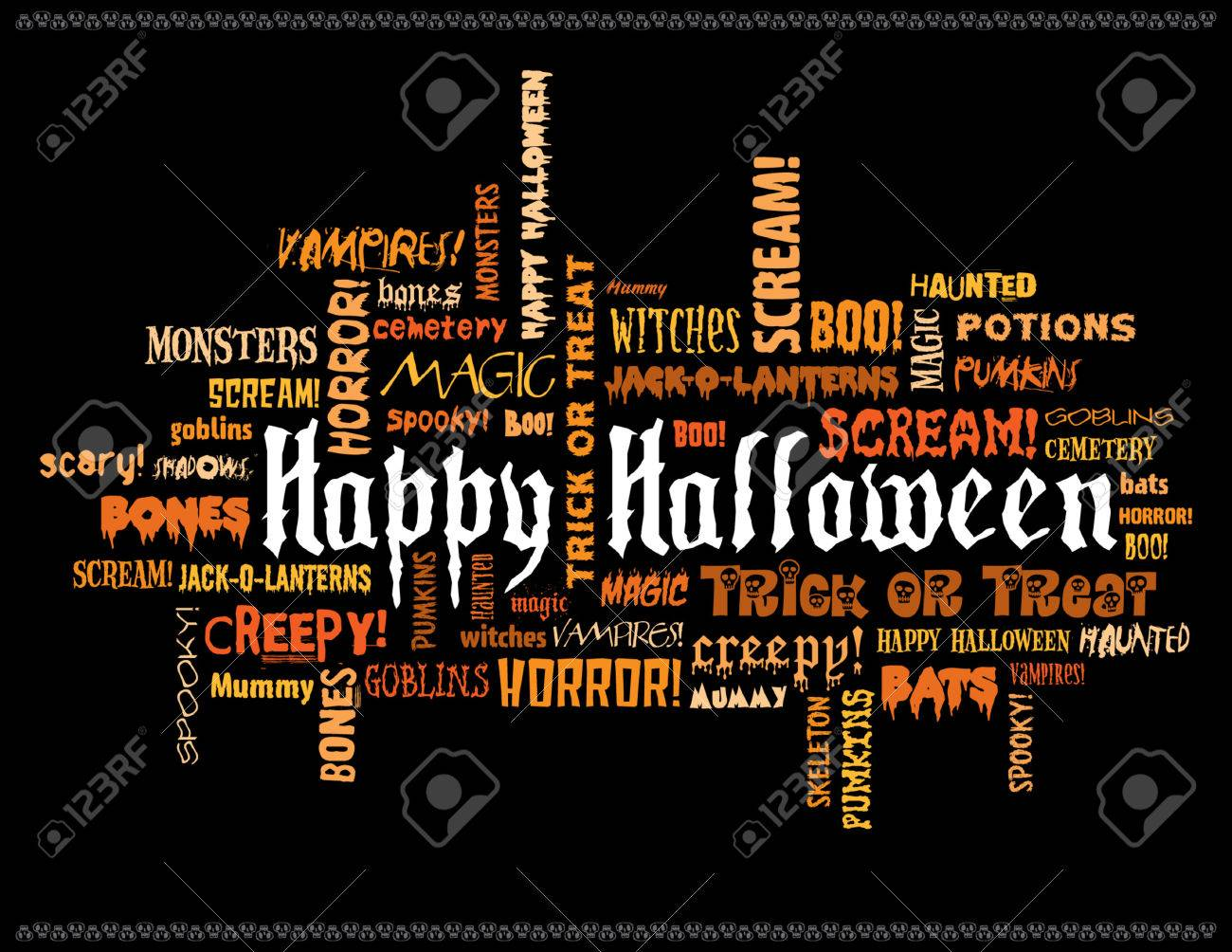 happy halloween and other scary words on a black background stock vector 2441921 - Pictures That Say Happy Halloween