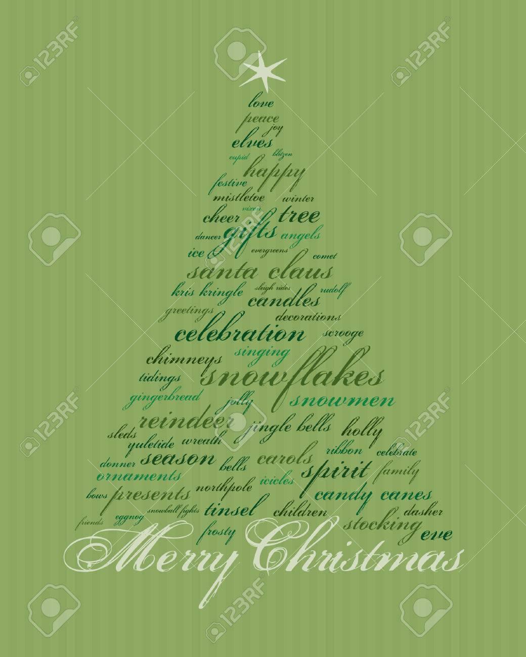 Frohe Weihnachten Und Andere Wörter In Grün, Die Abstrakte Bäume Zu ...