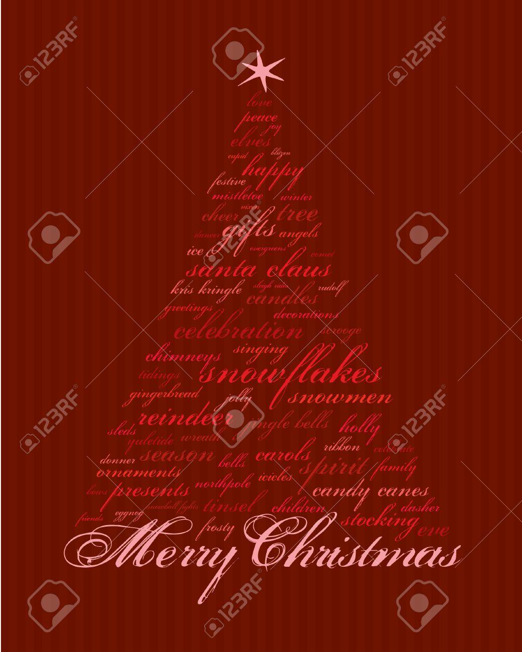 Frohe Weihnachten Und Andere Wörter In Rot, Die Abstrakte Bäume ...