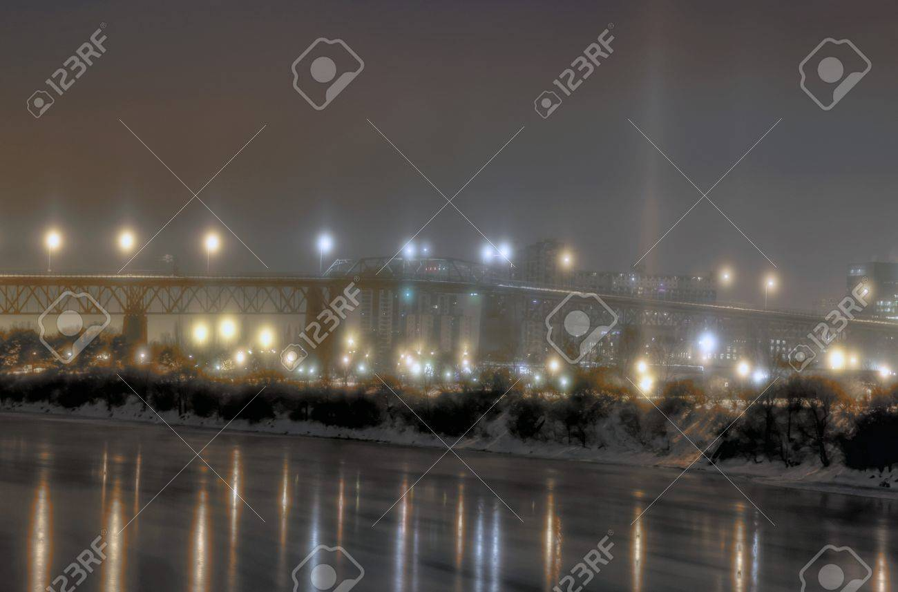 Snowy night time bridge Stock Photo - 17260484