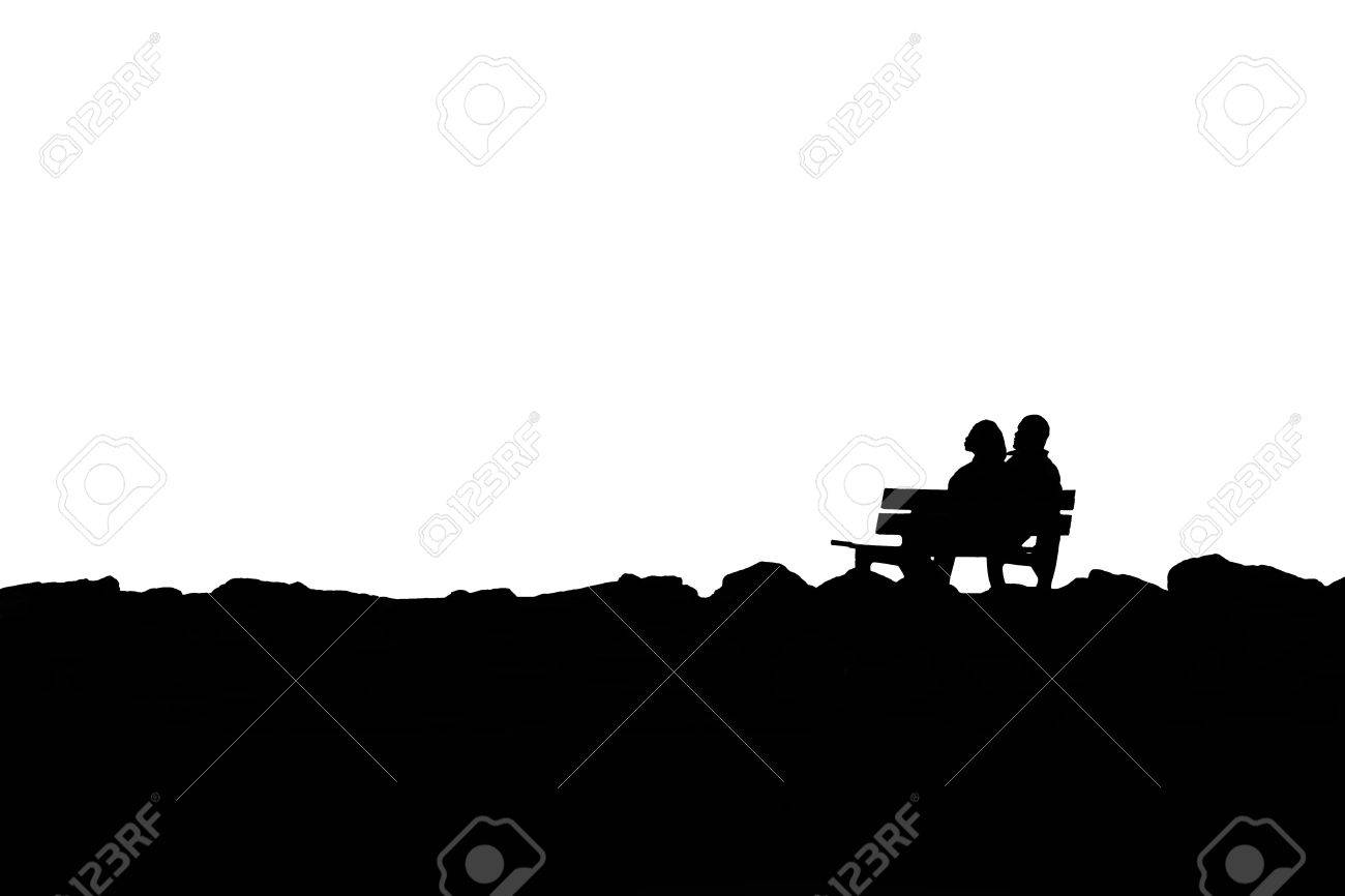 Couple Silhouette Bench