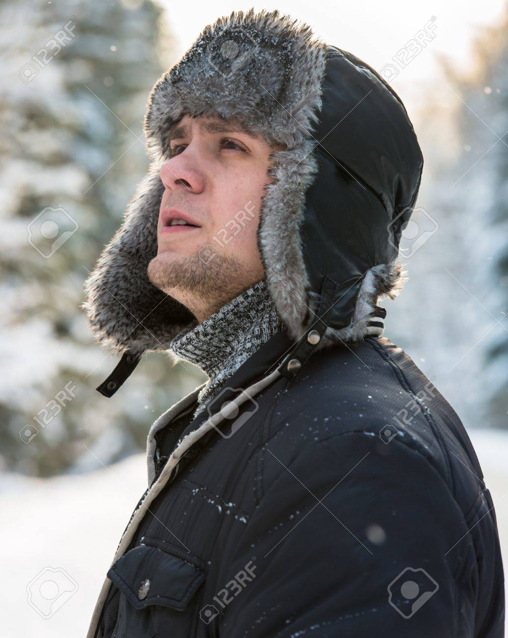 40ae5dbb9b7 a man in a fur winter hat with ear flaps Stock Photo - 17543419