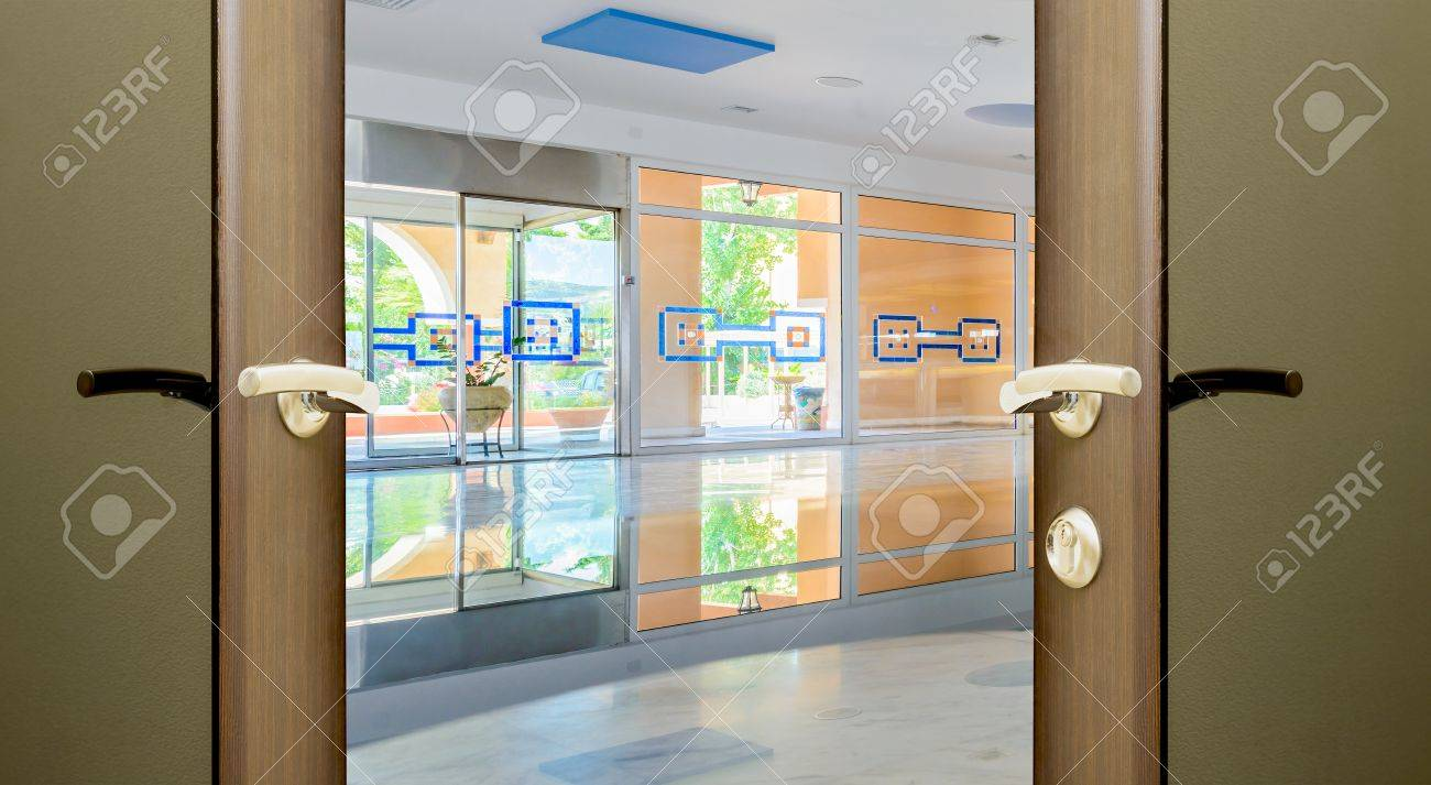 Entrance To The Hotel Lobby With Glass Doors Stock Photo Picture