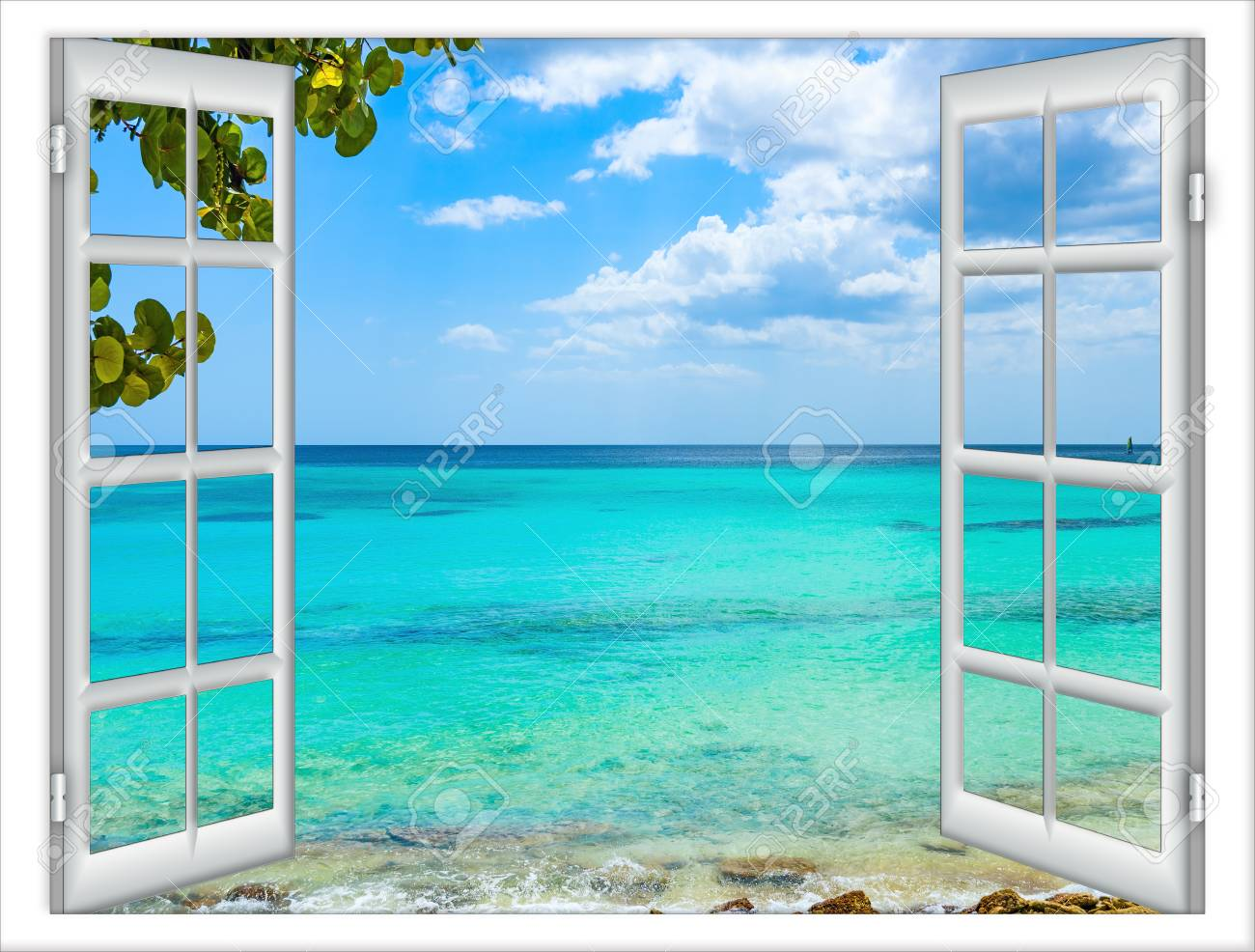 open window view of the sea good weather summer - 93226574