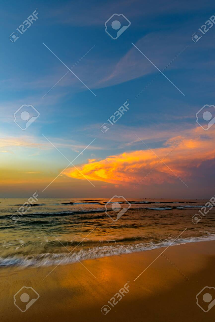 beautiful calm color sunset of the Caribbean in fine weather - 152817545