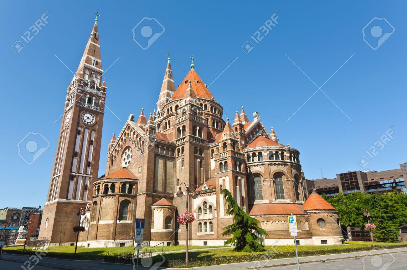 The back of the votive church, Szeged, Hungary Stock Photo - 10801234