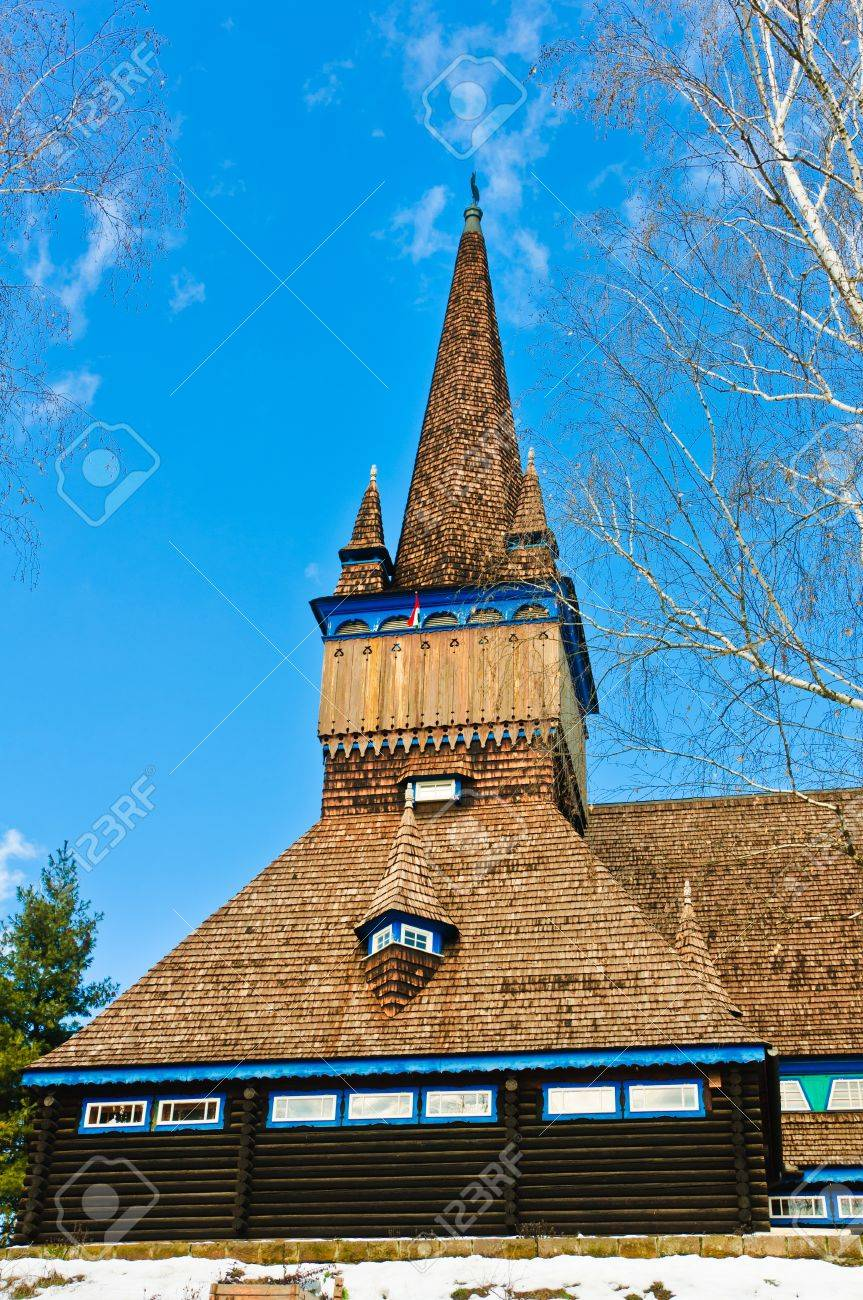 Facade view of the wooden church in Miskolc, Hungary Stock Photo - 10843817
