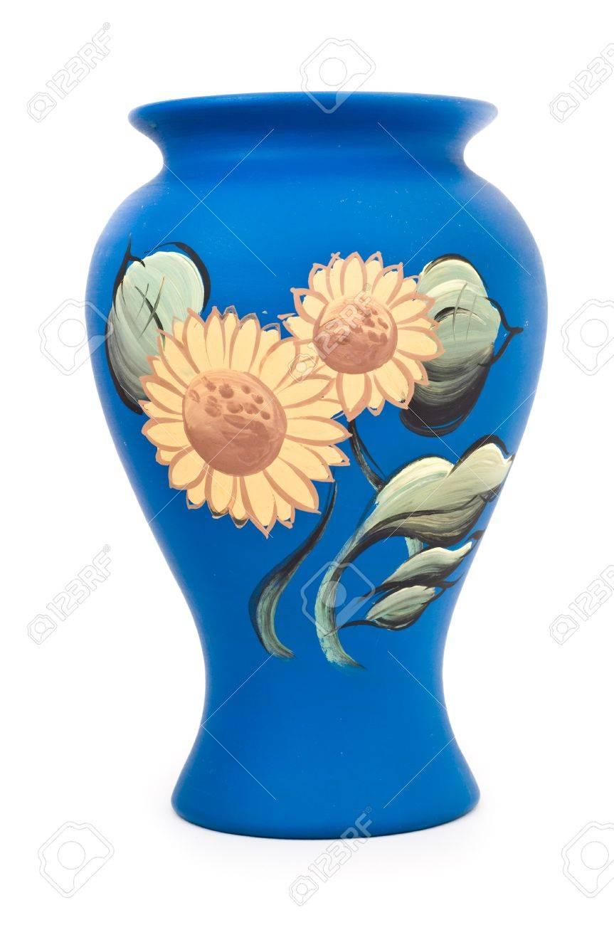 Keramik Mit Sonnenblume-Malerei-1 Isoliert Auf Weiß Lizenzfreie ...
