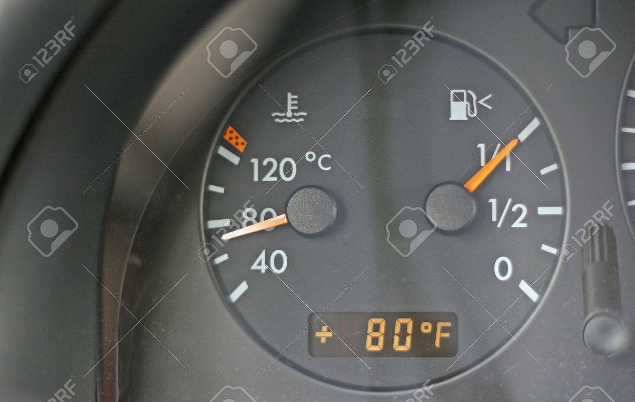Water Temperature gauge on car showing cool temperature