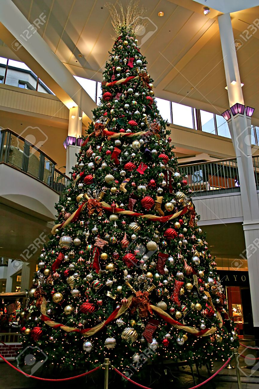 a giant christmas tree in a mall with decorations stock photo 624481 - Giant Christmas Tree