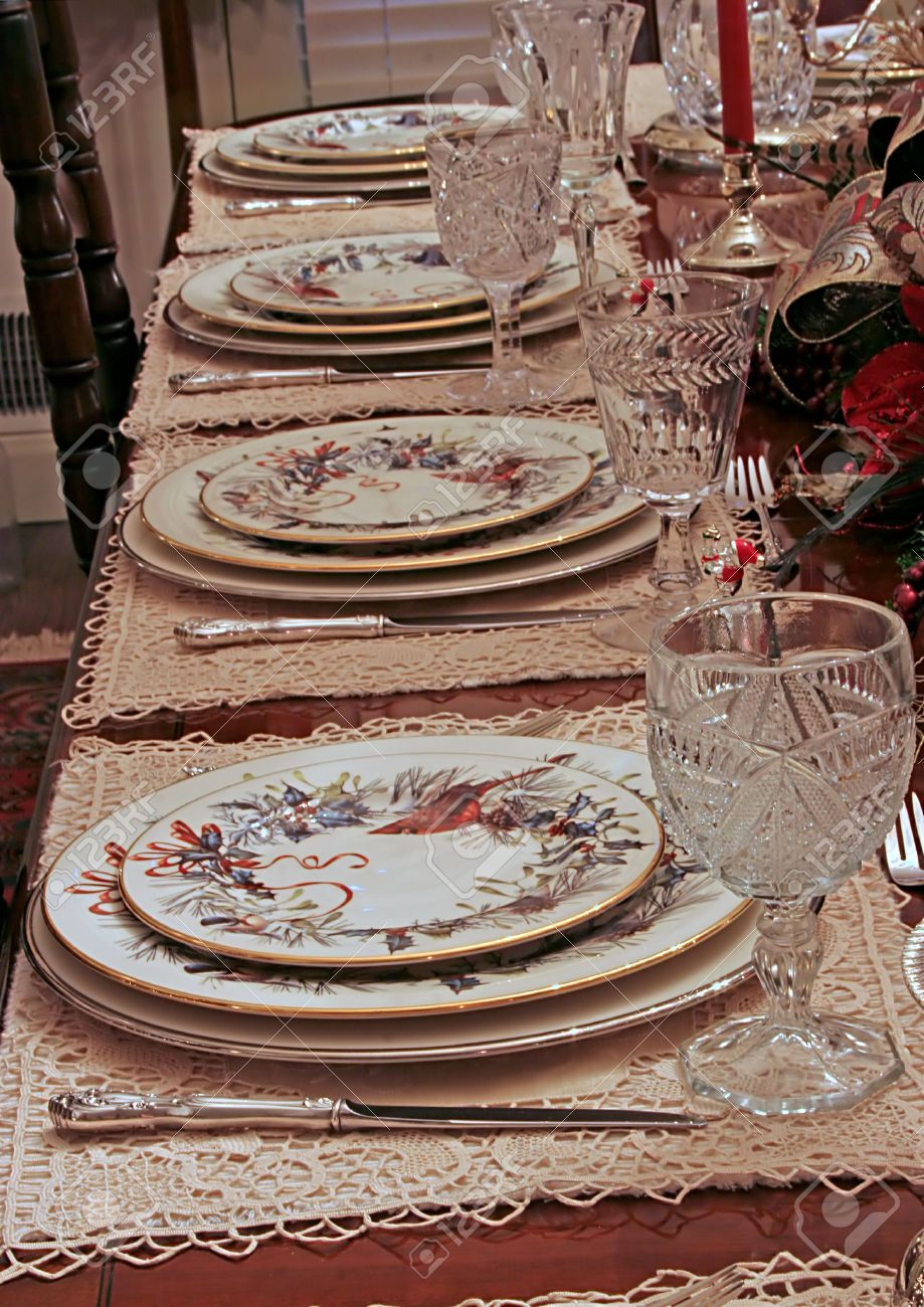 A nice dining table set for Christmas dinner Stock Photo - 687967 & A Nice Dining Table Set For Christmas Dinner Stock Photo Picture ...