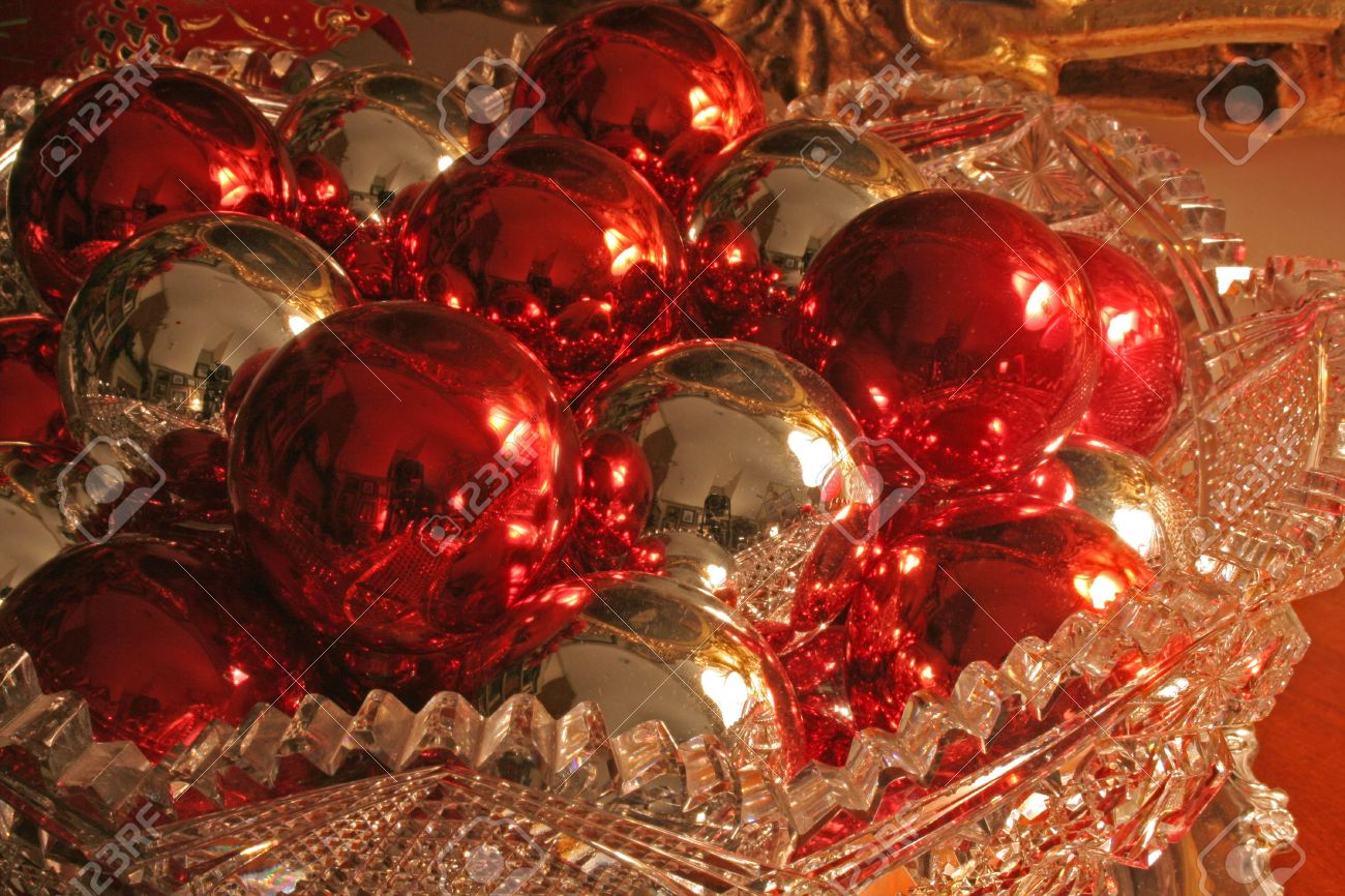 Red glass christmas ornaments - Red And Silver Christmas Ornaments In Cut Glass Bowl Stock Photo 687953