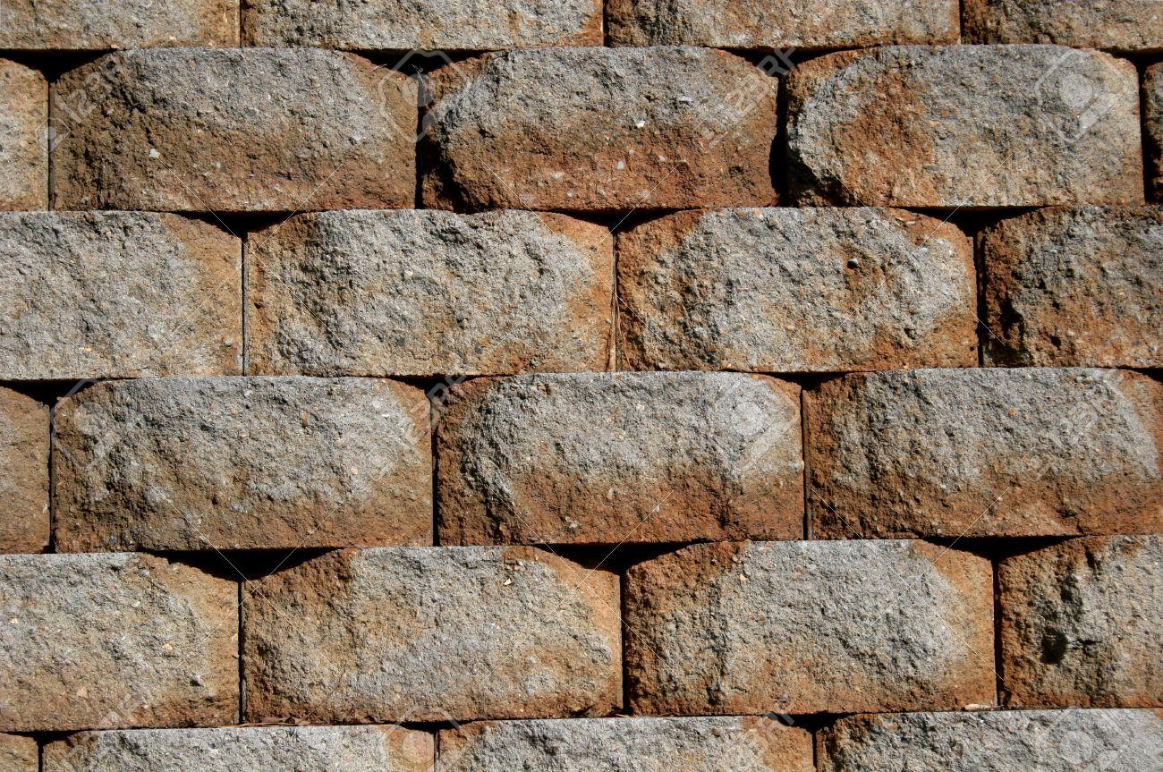 Many interlocking blocks creating stone retaining wall stock photo 732288