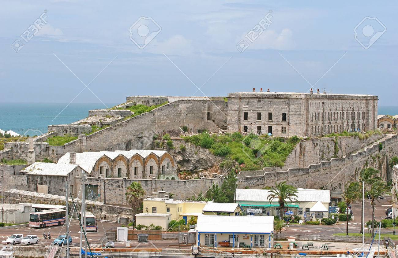 A fortress like old prison on the coast of Bermuda Stock Photo - 1479228