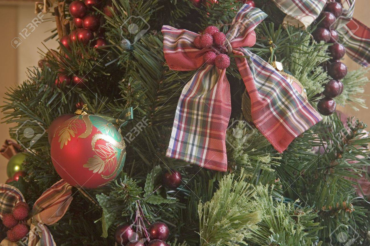 a nice christmas tree decorated with ribbons and bows stock photo 2264352 - Nice Christmas Trees