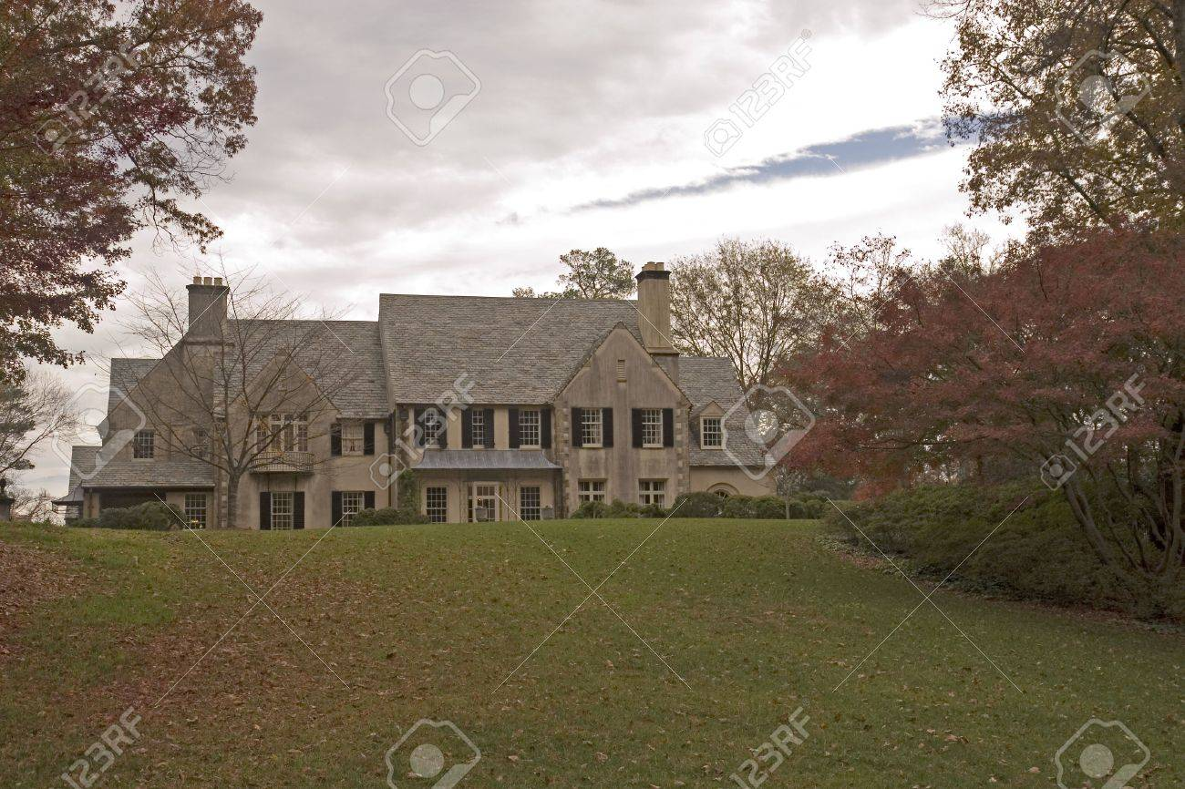 A huge old stone mansion on a hill in the autumn Stock Photo - 2329656