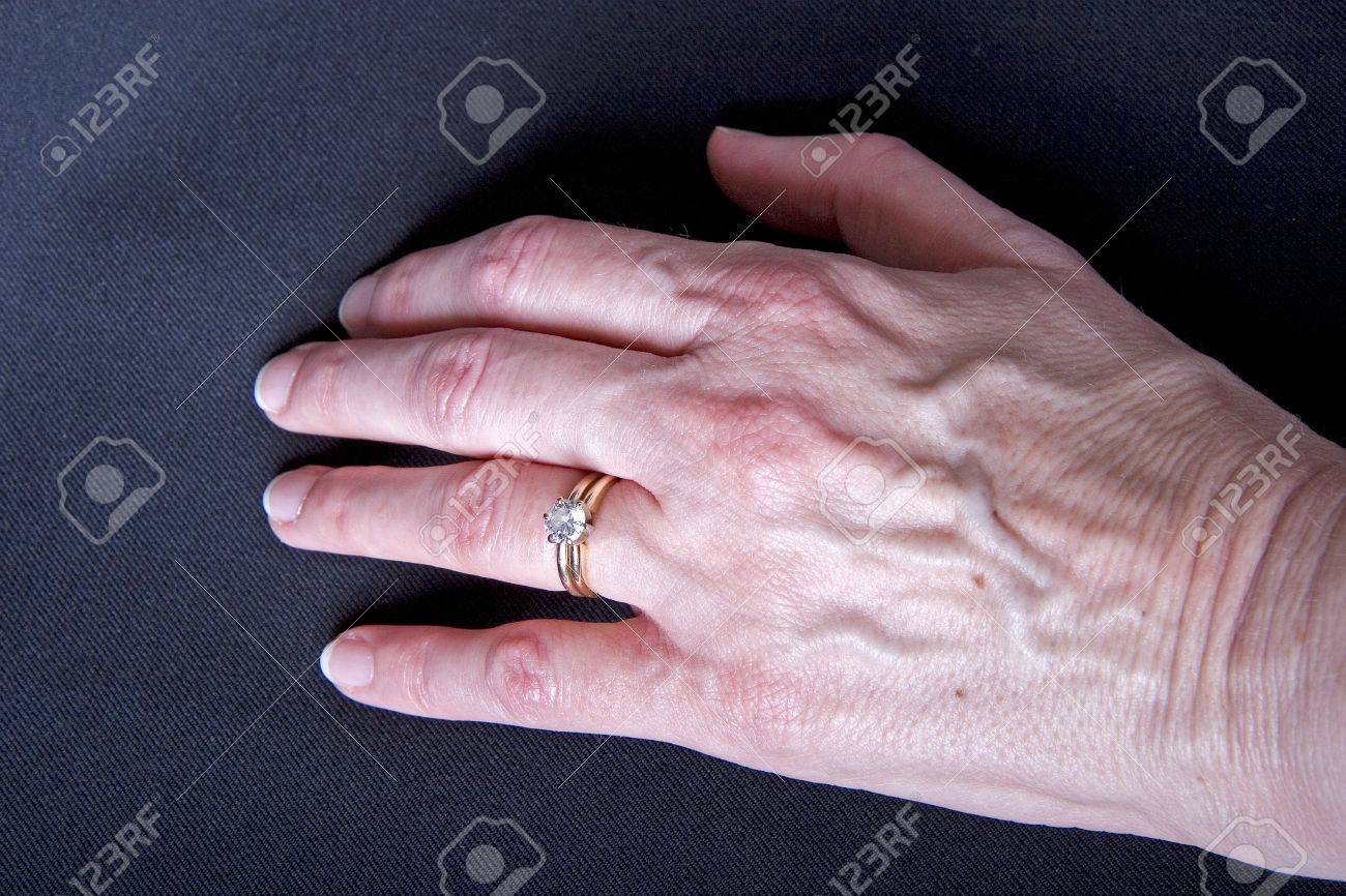 A Woman\'s Hand On Black Wearing A Diamond Ring Stock Photo, Picture ...