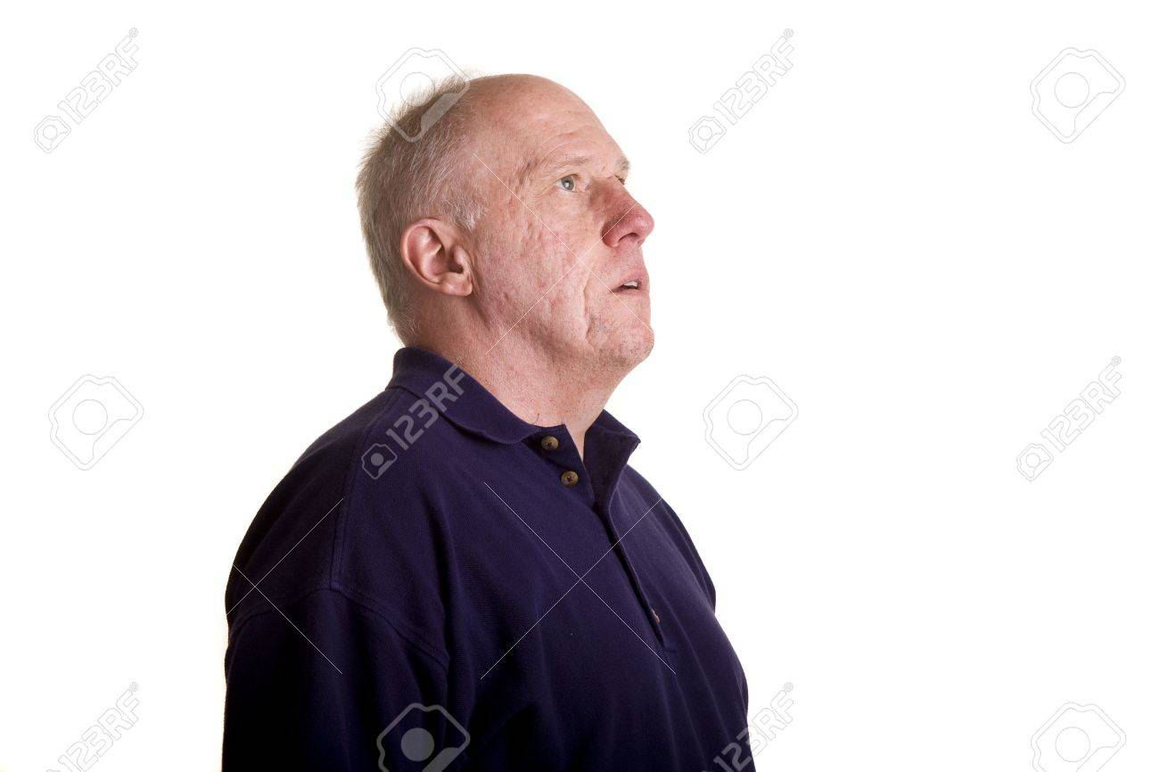 An older bald guy looking up and to the right Stock Photo - 3750177