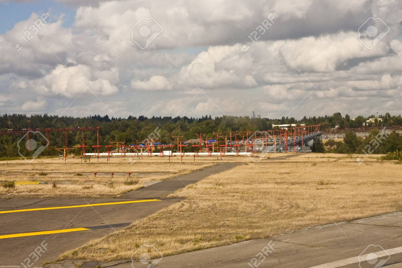 Runway approach lights at a large commercial airport
