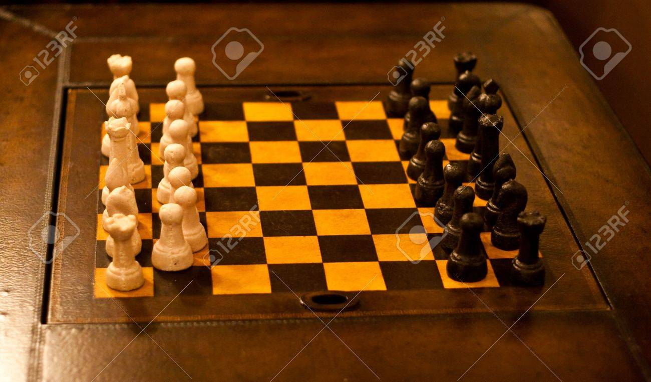 A Nice Chess Set On A Leather Board Stock Photo   6632629