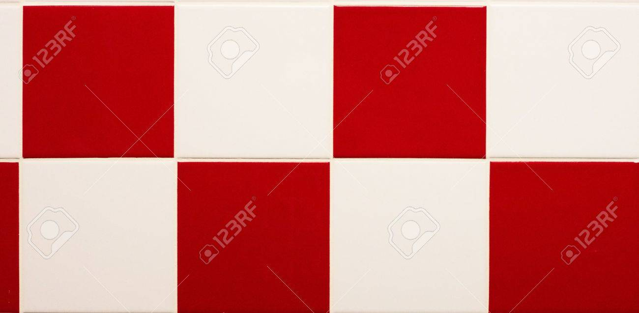 Alternating pattern of red and white tiles for a background or texture Stock Photo - 9574428