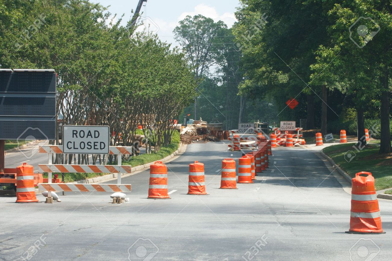 A construction site with road closed Stock Photo - 10400929