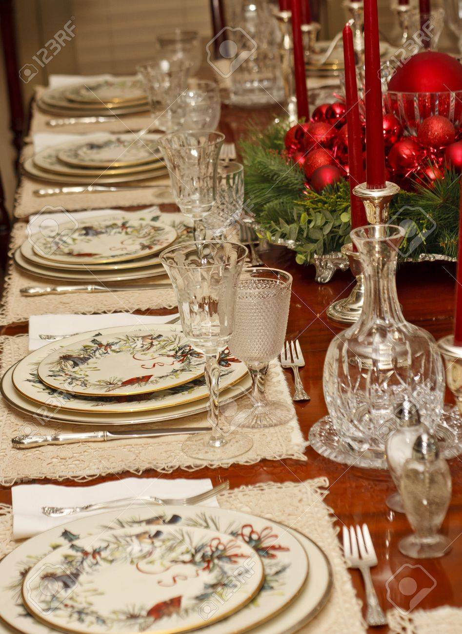 A Christmas Dining Table Set Formally Stock Photo, Picture And ...