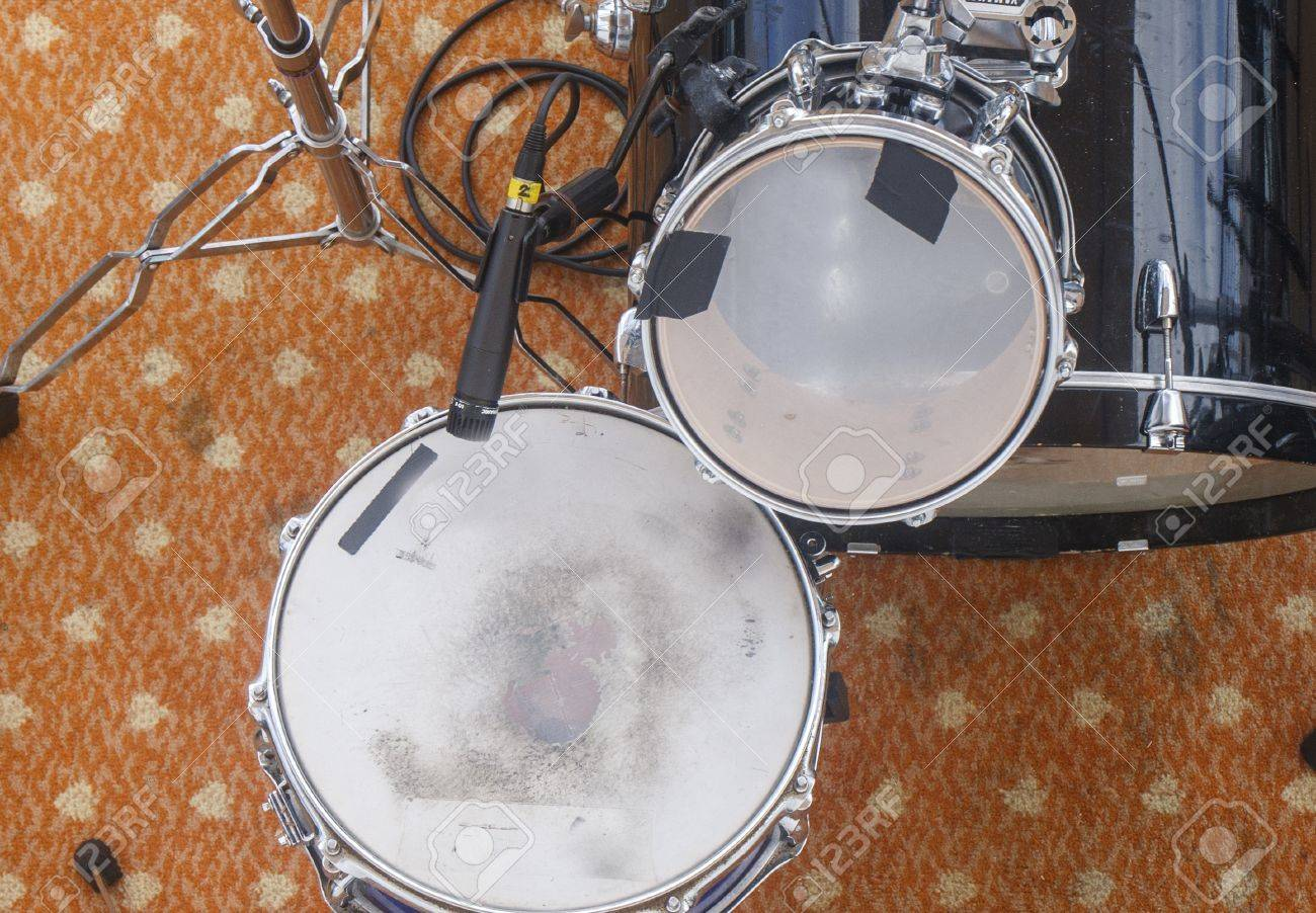 A Black And White Drum Set From Above Stock Photo Picture And