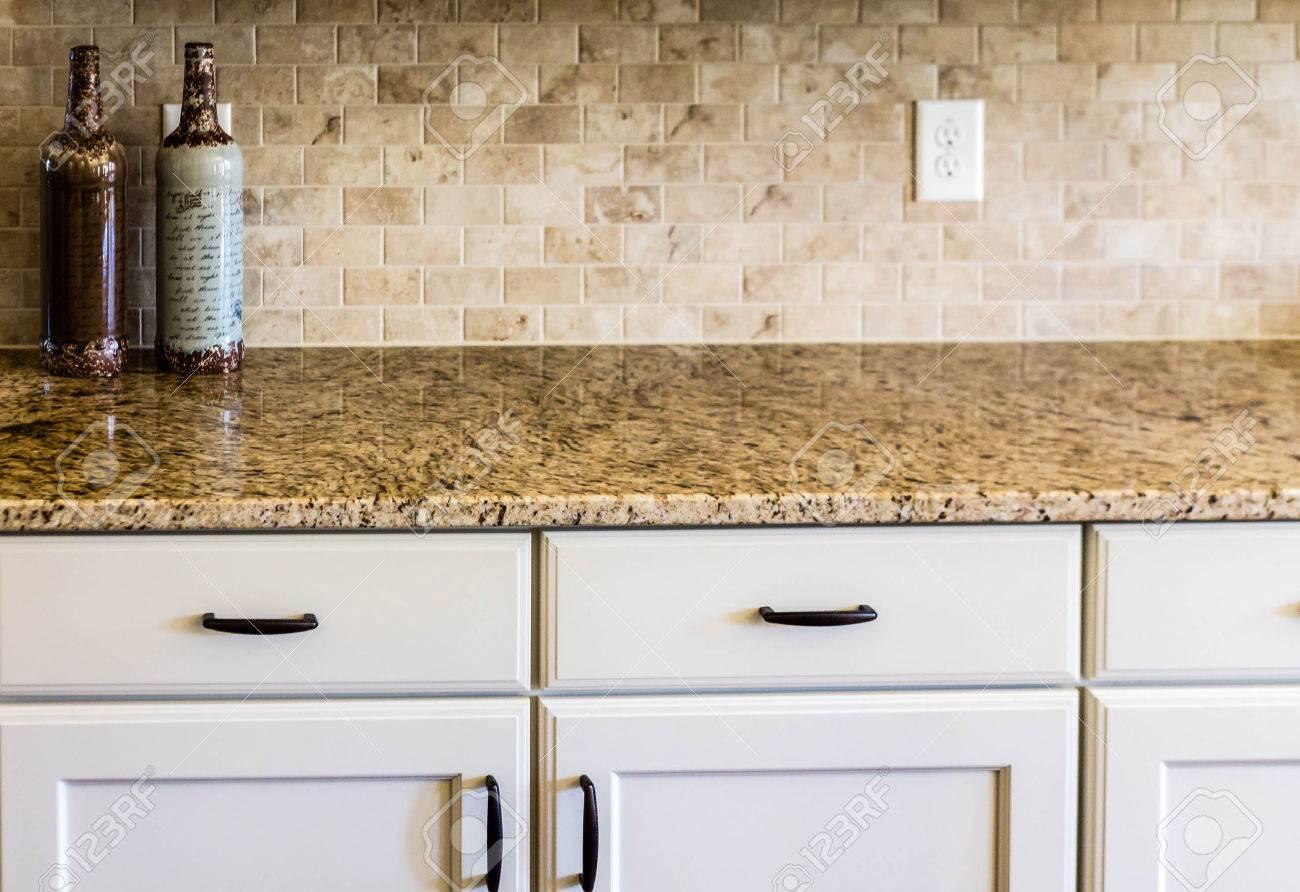 Modern Empty Kitchen With Granite Countertops Stock Photo   37228099