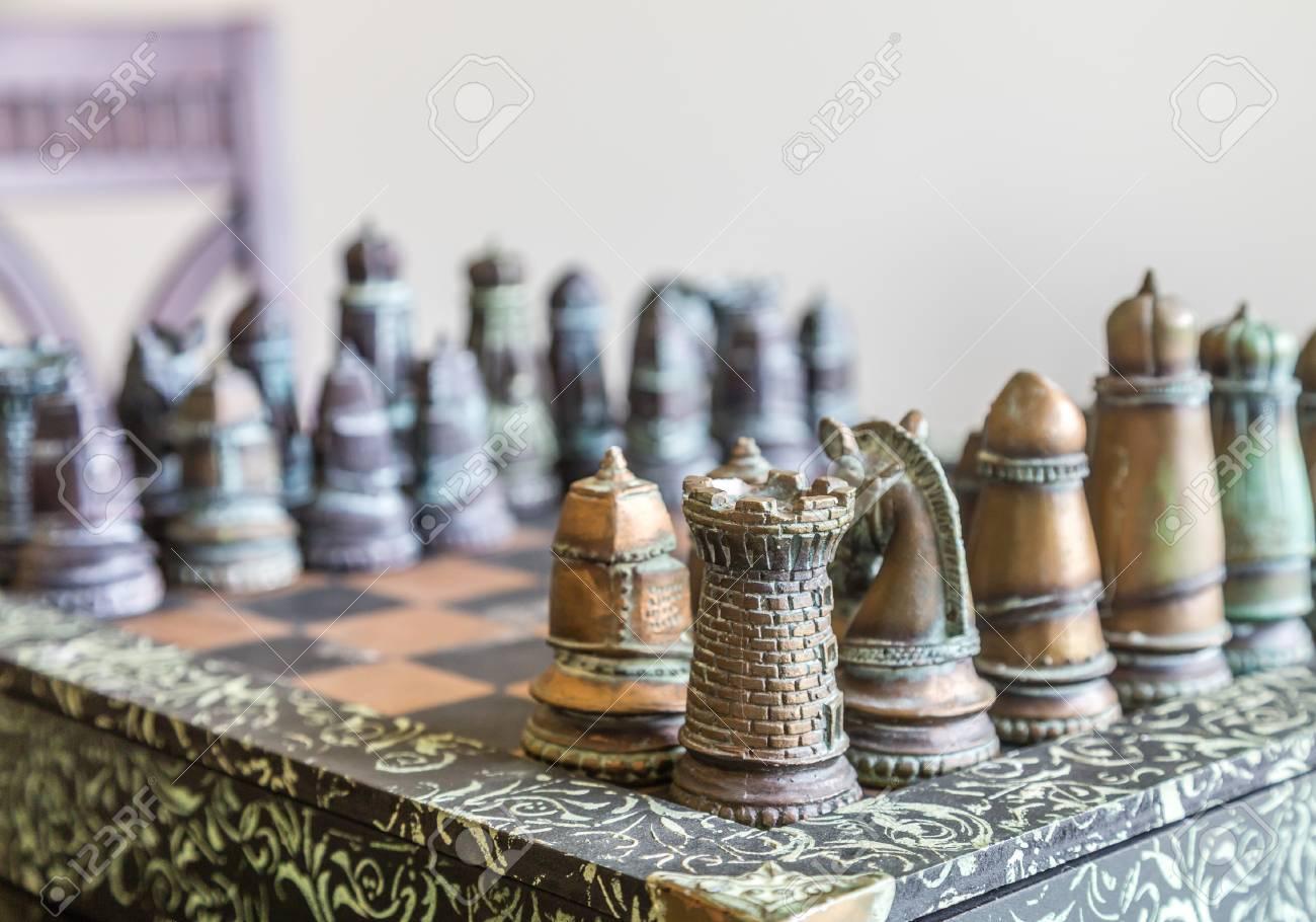 Ordinaire A Nice, Custom Chess Set On A Table In Window Light Stock Photo   43882534