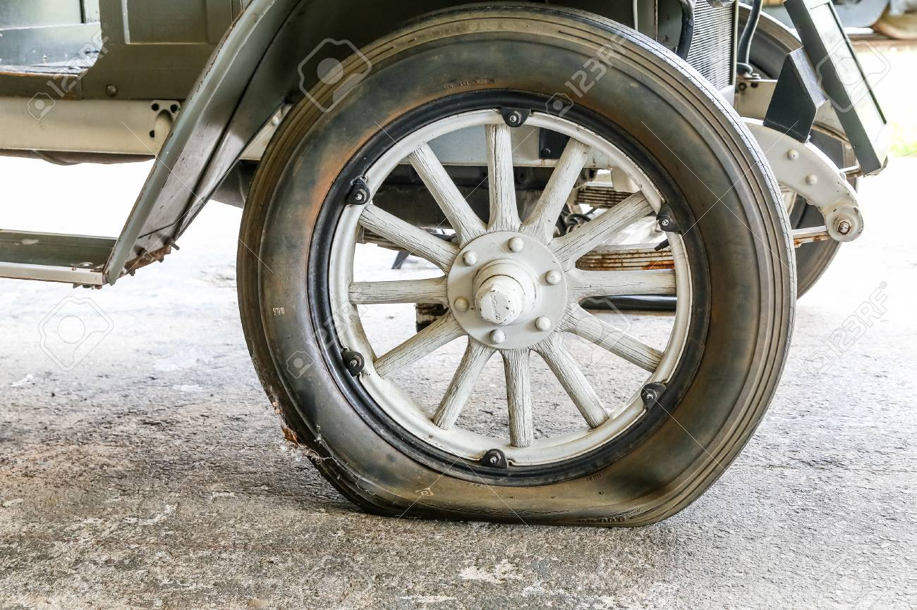 Old Wheels On Antique Vintage Automobiles Stock Photo, Picture And ...