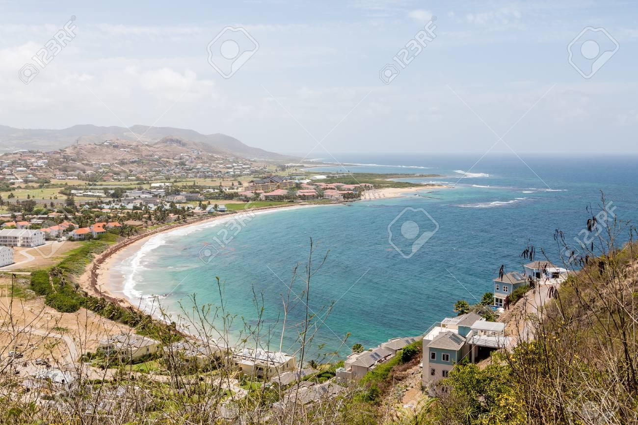Beach resorts on st kitts from hillside stock photo 50189082