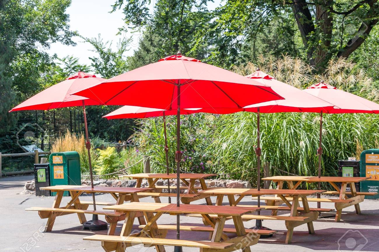 Red Umbrellas Over Wood Picnic Tables In Park Stock Photo Picture