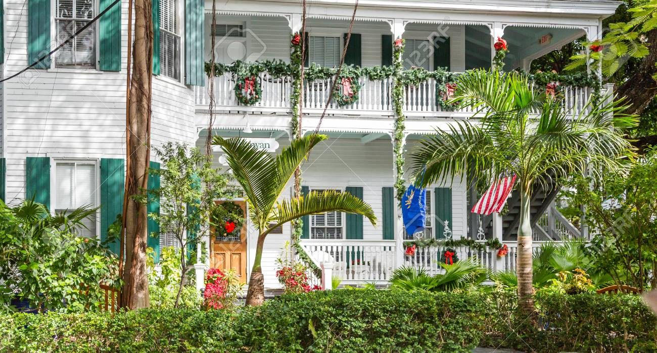 Two Story Tropical Home At Christmas In Key West Stock Photo ...