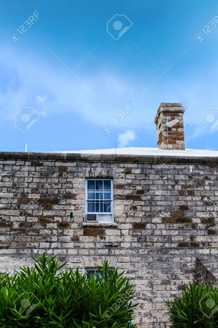 Vintage Window Air Conditioner In Old Stone Building Stock Photo ...